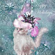 Cat In The Snowflake Santa Hat Art Print