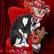 Cat In The Valentine Steam Punk Hat Art Print