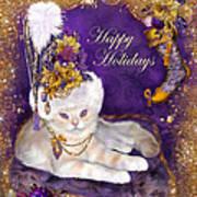 Cat In Victorian Santa Hat Art Print