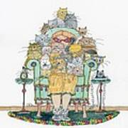 Cat Lady - In Chair Art Print by Mag Pringle Gire