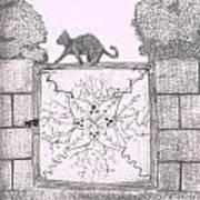 Cat On A Gate Art Print