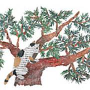 Cat Art Modern Japanese Torn Newspaper Collage Art By Bless Hue Art Print