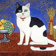 Cat On Thanksgiving Table Art Print
