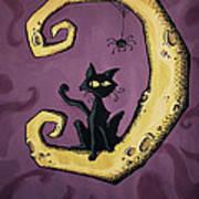 Cat On The Moon Art Print