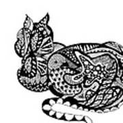 Cat With Design Art Print