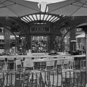 Catal Outdoor Cafe Downtown Disneyland Bw Art Print