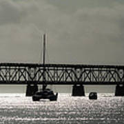 Catamaran Anchored At Old Bahia Honda Bridge Art Print