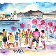 Catamaran Party In Cartagena Art Print