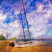 Catamarans At The Lake Art Print by Debra and Dave Vanderlaan