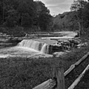 Cataract Falls Indiana Black N White Art Print