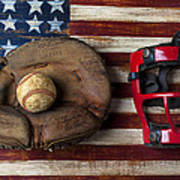 Catchers Glove On American Flag Art Print