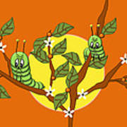 Caterpillars In The Orange Tree Art Print