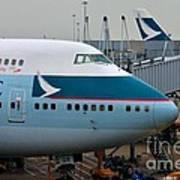 Cathay Pacific 747 Jumbo Jet Parked At Hong Kong Airport Art Print