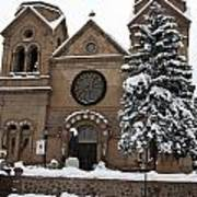 Cathedral Basilica Of St Francis In Snow Art Print