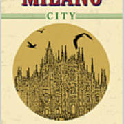 Cathedral Of Milano, Italy  In Vintage Art Print