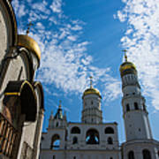 Cathedral Of The Dormition And Ivan The Great Belfry Of Moscow Kremlin Art Print