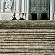 Cathedral Steps Girona Spain Art Print