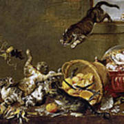 Cats Fighting In A Larder Art Print