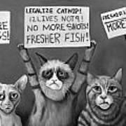 Cats On Strike Edit 4 Art Print