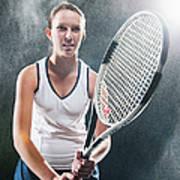 Caucasian Tennis Player In Rain Art Print