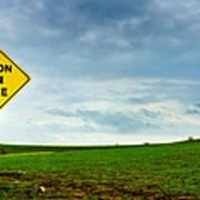 Caution Open Range Art Print