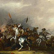 Cavalry Attacked By Infantry Art Print