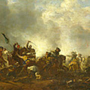 Cavalry Attacking Infantry Art Print