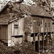 Cedar Creek Grist Mill Sepia Art Print