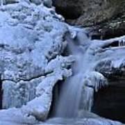 Cedar Falls In Winter At Hocking Hills Art Print