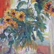 Sale - Sunflowers In Window Light - Original Impressionist - Large Oil Painting Art Print