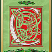 Celtic Christmas C Initial Art Print