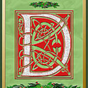 Celtic Christmas D Initial Art Print
