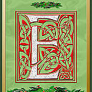 Celtic Christmas E Initial Art Print