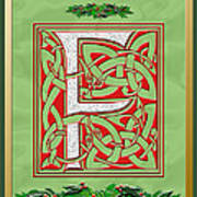 Celtic Christmas F Initial Art Print