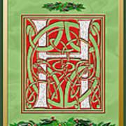 Celtic Christmas H Initial Art Print