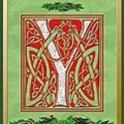Celtic Christmas Initial Y Art Print
