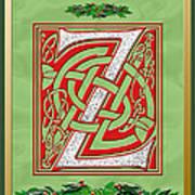 Celtic Christmas Initial Z Art Print