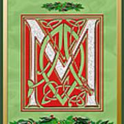 Celtic Christmas M Initial Art Print
