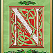 Celtic Christmas N Initial Art Print