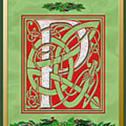 Celtic Christmas P Initial Art Print