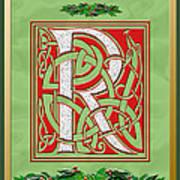 Celtic Christmas R Initial Art Print