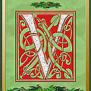 Celtic Christmas V Initial Art Print