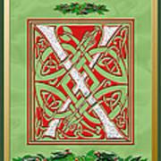 Celtic Christmas X Initial Art Print