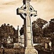 Celtic Cross In Sepia 1 Art Print