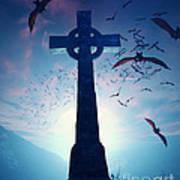 Celtic Cross With Swarm Of Bats Art Print