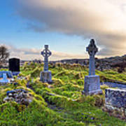 Celtic Crosses In An Old Irish Cemetery Art Print by Mark E Tisdale