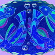 Celtic Fish On Blue And Lavender Art Print