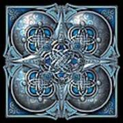 Celtic Hearts - Blue And Silver Art Print