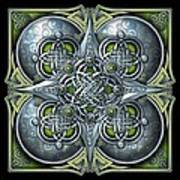 Celtic Hearts - Green And Silver Art Print