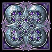 Celtic Hearts - Purple And Silver Art Print